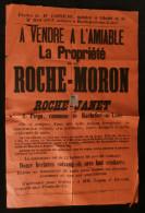 ANJOU ( Maine et Loire ) Affiche Vente Propri�t� ROCHE-MORON ROCHE-JANET Rochefort-sur-Loire Pi�gu 18..