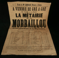 ANJOU ( Maine et Loire ) Affiche Vente M�tairie de la MORBAILLOU La S�guini�re CHOLET milieu XIXe