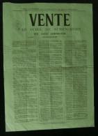 ( VENDEE ) Affiche Vente M�tairie du GRAND-GOULET et de LA MOTTE Saint-Aubin-des-Ormaux 1872