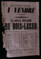 ( DEUX-SEVRES ) Affiche Vente M�tairie du BOIS-LEGER LA CHAPELLE-LARGEAU 1857