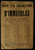 ( VENDEE ) Affiche Vente IMMEUBLES Village de la Riolli�re SAINT-MARTIN-DES-NOYERS 1862 Napol�on-Vend�e