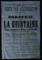 ANJOU ( Maine et Loire  ) Affiche Vente Borderie LA QUINTAINE MELAY CHEMILLE 1864