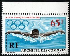 COMORES 1969 - Yv. PA 25 ** SUP Bdf  Cote= 5,50 EUR - JO Mexico : Natation ..Réf.AFA21762 - Komoren (1950-1975)