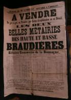 ANJOU ( Maine et Loire  ) Affiche Vente Belles M�tairies des Haute et Basse BRAUDIERES LA ROMAGNE milieu XIXe