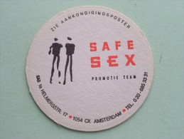 SAFE SEX Promotie Team Amsterdam ( Sous Bock / Coaster / Onderlegger ) Zie Foto´s Voor Detail ! - Sous-bocks
