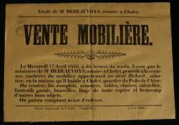ANJOU ( Maine et Loire  ) Affiche Vente  Mobilier du sieur BICHERIT Sabotier � CHOLET quartier Puits de l'Aire 1850
