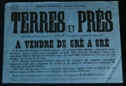 ANJOU ( Maine et Loire  ) Affiche Vente  Ferme de l'Aveau Commune de Chemill� Champ du Grand Fresche milieu XIXe