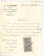 Courrier Notaire L. Tachon - Chalon Sur Saône 1921 Avec Timbre Quittance 25 C - Vieux Papiers