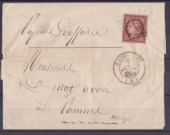 N� 6 CERES 1 F CARMIN SUR LETTRE LAVELANET ARIEGE 1851 CENTRAGE PARFAIT FILETS NON TOUCHES