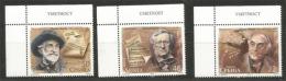 SERBIE. Compositeurs Célèbres: G.Verdi,R.Wagner,Oskar Danon.  3 T-p Neufs **, Bord De Feuille - Musik