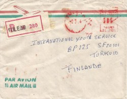"Madagascar 1984 Tulear Meter Franking Satas ""J"" SJ 9496 EMA Registered Cover - Madagaskar (1960-...)"