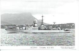 """CP PHOTO: """" ACONIT """" - CORVETTE F 703  -  8-3-1972  (   BATEAU DE GUERRE ) - Guerre"""