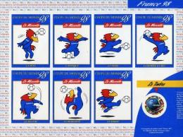 BLOC FEUILLET ADHESIF COUPE DU MONDE  DE FOOTBALL FRANCE 1998 - FOOTIX - 1998 – Frankrijk