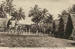 - Ref D381 -salomon - Mission Des Salomon Septentrionales - Un Village Indigene Dans L Ile De Theop - - Salomon