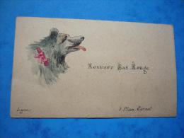 Carte De Visite Illustrée Tête D'ours Monsieur Bas Rouge Lyon - Cartes De Visite