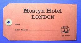 HOTEL PENSION MOSTYN METROPOLITAN LONDON UK ENGLAND GREAT BRITAIN STICKER DECAL LUGGAGE LABEL ETIQUETTE AUFKLEBER - Hotel Labels