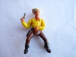 Figurine MARQUE INCONNUE 60's Pas Starlux Clairet Jim Cyrnos COWBOY CAVALIER REVOLVER MAIN - Starlux