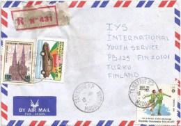 Madagascar 1995 Tamatave Skating Olympic Games Sarajevo Honda Car Vienna Cathedral Registered Cover - Madagaskar (1960-...)