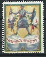 VIGNETTE DELANDRE FRANCE - Volontaires ARGENTINS  - 1914 - 1918  WWI WW1 Poster Stamp Cinderella 1914 1918 War - Vignette Militari