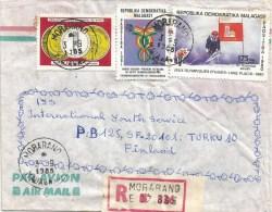 Madagascar 1995 Morarano Alpine Skiing Olympic Games Lake Placid Communication Registered Cover - Winter 1980: Lake Placid