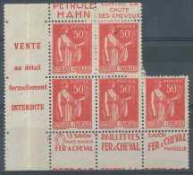 N� 283, 50c rose-rouge type Paix, type IV, gomme partielle, mais tr�s belle pi�ce de 5 timbres pub avec interpanneau 'fe