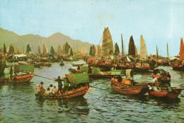 HONG KONG CHINE Cpsm Port Bateaux Animation - Chine (Hong Kong)