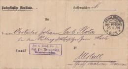 DR Brief KOS Schildberg (Bz Posen) 23.6.94 Ankunftsst. KOS Allstedt (Ghzgth. Sachsen) 25.6.94 - Deutschland