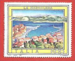 ITALIA REPUBBLICA USATO - 1991 - Turismo - 18ª Emissione - La Maddalena - £ 600 - S. 1954 - 6. 1946-.. Repubblica