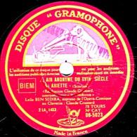 78 Trs - 30 Cm - DISQUE GRAMOPHONE  DB-5023 - état EX -  Leîla BEN SEDIRA - Air Anonyme Du XVII - ARIETTE - ARIETTES - 78 Rpm - Schellackplatten