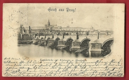 DEUA-24 Gruss Aus Prag  Praha. Pioneer, Stamp Missing, Circulated In 1898 - Czech Republic