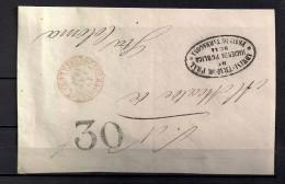 1854 FRONTAL CIRCULADO A SANTA COLOMA DE QUERALT, BAEZA DE TARRAGONA, PORTEO, MARCA  ADMINISTRADOR PRAL. DE HACIENDA - Cartas