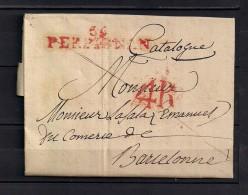 """1829, CARTA COMPLETA CIRCULADA A  BARCELONA, MARCA """" 56 - PERPIGNAN"""", PORTEO 4R - 1801-1848: Precursores XIX"""