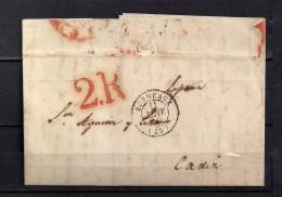 1850 BURDEOS, CARTA COMPLETA CIRCULADA A CADIZ, FECHADOR DE BURDEOS Y PORTEO - Marcofilia (sobres)