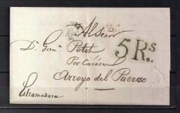 1845 BAYONNE, CARTA COMPLETA CIRCULADA ENTRE BAYONA Y ARROYO DEL PUERCO, MARCA P.P., PORTEO - 1801-1848: Precursores XIX