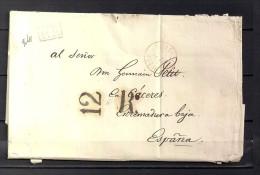 1839 PARIS,  FECHADOR BUREAU CENTRAL EN ROJO, MARCA P.P., PORTEO 12 REALES, AL DORSO TRÁNSITO DE PAU - 1801-1848: Precursores XIX