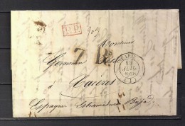 1838 PARIS, CARTA COMPLETA CIRCULADA A CÁCERES, FECHADOR DE PARIS, MARCA P.P., PORTEO 7 REALES - 1801-1848: Precursores XIX