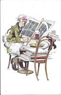 Illustrateur - G.U. Ehr - Humoristique - Le Client Qui Lit La Presse Quotidienne - Illustrators & Photographers
