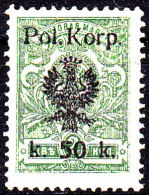 POLAND 1918 I POL CORPS Fi 14B Mint Hinged Signed Petriuk (2014) - ....-1919 Gouvernement Provisoire