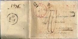"""Pr�curseur de VERVIERS (13 mai 1831) � COMPIEGNE (France) + Griffe L.P.B.2R + Tampon """"6"""" + port """"20"""""""