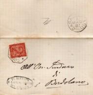1887   LETTERA CON ANNULLO  OTTAGONALE  Corte De� Cortesi Con Cignone CREMONA