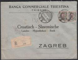 Italy 1923, Registered Cover Trieste To Zagreb W./postmark Trieste - 1900-44 Vittorio Emanuele III