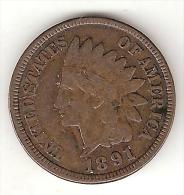 *usa 1 Cent 1891    Km 90a   Vf - Émissions Fédérales