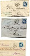Ligne AVRICOURT à PARIS LOT 3 Plis Commerciaux Au Départ De STRASBOURG  Voir Descriptif................G - Marcophilie (Lettres)