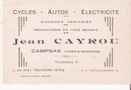 CAMPSAS (TARN ET GARONNE) CARTE DE VISITE ANCIENNE DES ETS JEAN CAYROU CYCLES AUTOS ELECTRICITE MACHINES AGRICOLES - Visiting Cards