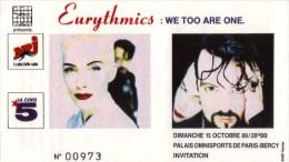 ticket billet place concert EURYTHMICS 1989 PARIS Bercy