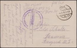 Allemagne 1918. Carte En Franchise Militaire. Bücherei, Bibliothèque De La Marine. Soldat Allemand En Belgique. Moulin - Schrijvers