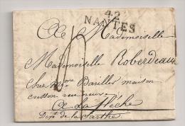 LETTRE DE 1813 DE NANTES A LA FLECHE SARTHE / CACHET LINEAIRE 42 NANTES / DE SAINT-HILLIER ROBERDEAU CP9310 - 1801-1848: Précurseurs XIX