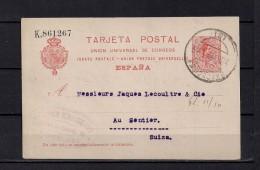 1921 BARCELONA, ENTERO POSTAL ED. 53E, CIRCULADO ENTRE BARCELONA Y AU SENTIER EN SUIZA - Stamped Stationery