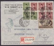 Egypt Airmail Par Avion H. O. KOBLET & Co., Registered Recommndée Einschreiben (Swedish) Label ALENDRIA 1948 Cover Brief - Poste Aérienne