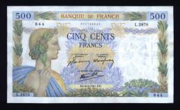 Billet De 500 Francs LA PAIX (OE 8/5/1941 OE) - ( N° 484 ) - 1871-1952 Anciens Francs Circulés Au XXème